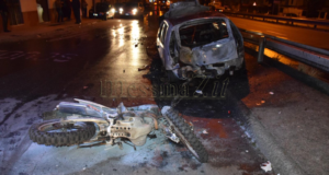 Rocambolesco incidente a Camaro tra due auto e una moto