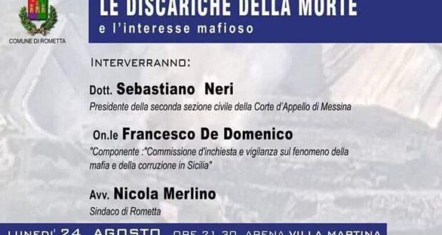 """Rometta Marea: a Villa Martina convegno """"Le Discariche della Morte e l'interesse mafioso"""""""
