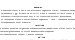 Focolaio alla Galatti-Cannizzaro, 15 giorni di chiusura. Oggi la decisione riguardo a tutte le altre scuole cittadine