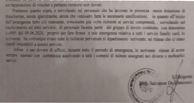 """""""Mai preso calci in culo e nessuna misura anti-covid al Comune durante il lockdown"""" lo sfogo del dirigente De Francesco"""