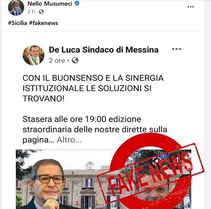 Il governatore Musumeci sbugiarda Cateno De Luca: fake news!