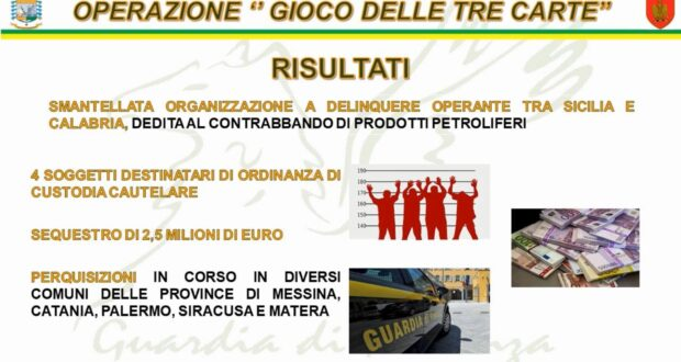 Contrabbando di gasolio: 4 ordinanze di custodia cautelare e sequestro di 2,5 milioni di euro da parte della GDF di Messina (Video)
