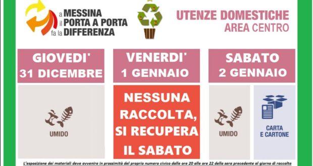 Messina, calendario rifiuti di fine anno: ecco le variazioni