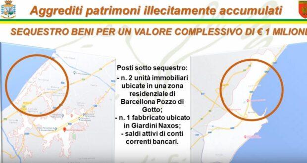 Sequestrati un fabbricato e conti correnti ad un ex consigliere comunale di Giardini Naxos. Altri sequestri patrimoniali a Barcellona (video)