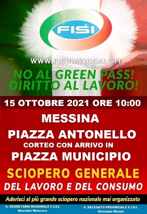 No al green Pass, sciopero e corteo a Messina venerdì 15 ottobre